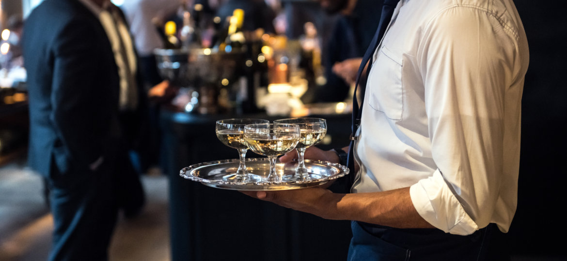 event waiter carrying drinks